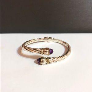 Vintage Lorenzo 18k/925 amethyst hinge bracelet
